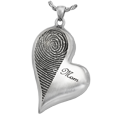 Wholesale B&B Teardrop Heart Halfprint with Name Jewelry chamber silver