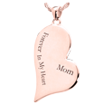 Rose Gold Teardrop Heart Jewelry flat with Text Engraving