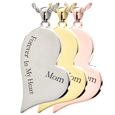 Teardrop Heart Flat with Text Engraving in silver, yellow or rose gold