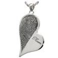 Wholesale B&B Teardrop Heart Halfprint with Name Jewelry no chamber silver