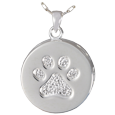 Paw Print and Bones Urn Pendant front detail shown
