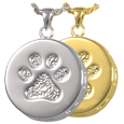 Paw Print & Bones Urn Pendant Wholesale Pet Jewelry in silver and gold