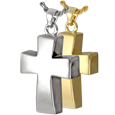 Wholesale Cremation Jewelry Vaulted Cross shown in silver and gold metals