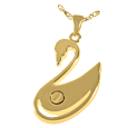 Urn compartment shown on back of Swan cremation jewelry pendant