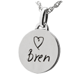 non 3d handwriting round charm