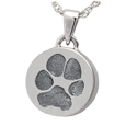 Wholesale Mini Round paw print Jewelry in silver with compartment