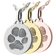 Wholesale Mini Round paw print Jewelry in silver, yellow or rose gold