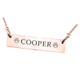 orizontal Bar Pendant with Text Engraving Pet Jewelry in rose gold