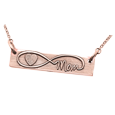 fingerprint heart inside infinity with name rose gold bar pendant