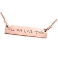 rose gold bar pendant with handwriting cremation jewelry