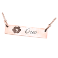 paw print on rose gold bar pendant necklace
