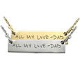 Wholesale Personalized Bar Pendant Horizontal- Handwriting in silver or gol