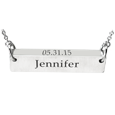 silver horizontal bar pendant with name and date