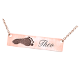 rose gold bar pendant with foot print and name