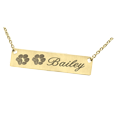 2 Paw Prints engraved on 14k yellow gold bar pendant