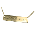 personalized fingerprint gold bar pendant horizontal