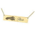 Personalized Bar Pendant with Footprint in 14k yellow gold