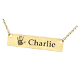 Personalized Bar Pendant with actual handprint in 14k yellow gold