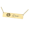 Paw Print horizontal bar pendant available in 14 yellow gold
