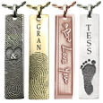 vertical flat bar pendants shown with different personalizations