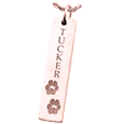 2 Paw Prints on rose gold bar pendant