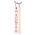 Rose Gold Chamber Vertical Bar Pendant with Text Engraving Pet Jewelry