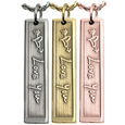 3D handwriting bar pendant in silver or yellow gold or rose gold
