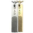 vertical bar pendant personalized with fingerprint