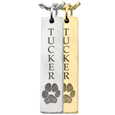 actual paw print engraved on vertical bar pendant
