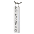 Vertical Bar Pendant with Text Engraving Pet Jewelry with urn chamber