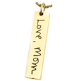 gold bar chamber pendant with handwriting