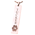 Personalized Rose Gold Bar Pendant Vertical- Paw Print