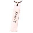 Rose Gold Flat Vertical Bar Pendant with Text Engraving