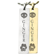 Actual Nose and Paw Prints plus name engraved on bar pendant jewelry