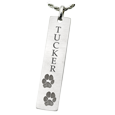 silver bar pendant with 2 actual paw prints