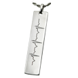 silver bar pendant with heart rate chart