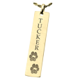 gold jewelry engraved with paw prints