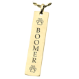 14k Gold Flat Vertical Bar Pendant engraved with pet name