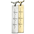vertical bar pendant personalized with cardiogram