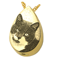 custom pet photo engraved onto 14k yellow gold urn pendant