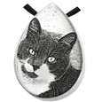 custom pet photo engraved onto stainless steel teardrop pendant