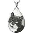 custom pet photo engraved onto flat sterling silver teardrop charm
