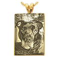 custom pet photo engraved onto 14k yellow gold necklace pendant
