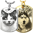 pet photo engraved on dog tag pendant in different metals and styles
