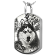 sterling silver dog tag pendant with interior chamber engraved with photo