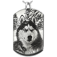 sterling silver dog tag pendant engraved with custom dog photo