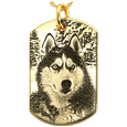14k yellow gold dog tag pendant engraved with custom pet photo