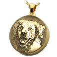custom pet photo engraved onto 14k yellow gold round urn pendant