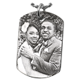 wedding couple photo engraved onto dog tag pendant