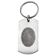 Stainless Steel Dog Tag Fingerprint shown with key ring